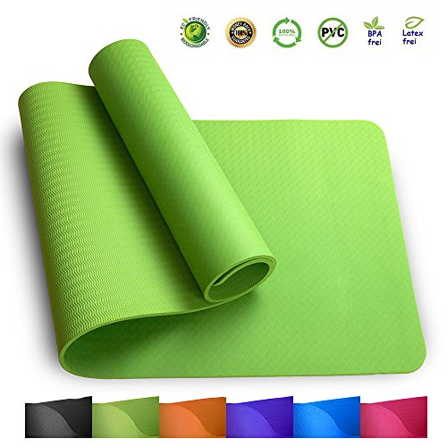 Sosila TPE Yogamatte, ECO Gymnastik Matte, rutschfest, umweltfreundlich, hypoallergen und hautfreundlich, ideal für Yoga, Pilates und Fitness, mit Tasche und Trageband, 183 x 61 x 0,8 cm (Grasgrün)