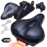 provelo Most Comfortable Bike Seat for Men Women  Rechargeable Taillight  Wide Soft Padded Bicycle Saddle  Comfort Memory Foam Cushion - Black Leather  Protection Cover and Triangle Frame Bag