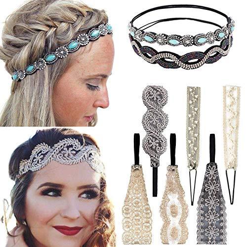 8 pezzi fasce per capelli in pizzo elastici fasce per capelli in pizzo perle gioielli fasce perline fascia per capelli...