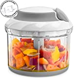 Gourmia GSC9285 Swift Chopper Pull String Manual Food Processor With 2 Attachment Blades, Durable BPA free food safe material