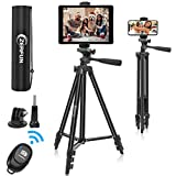 Phone Tablet Tripod, ZERFUN 55-Inch Portable Lightweight iPhone iPad Tripod Stand with Remote for Video Recording, Universal Phone/Tablet Mount Holder, Compatible with Smartphone/Tablet/Camera