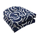 Pillow Perfect Outdoor/Indoor Carmody Navy Tufted Seat Cushions (Round Back), 19' x 19', 2 Count