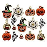 WOCRAFT 21pcs Assorted Gold Plated Enamel Halloween Decorations Charm Pendant for DIY Jewelry Making Necklace Bracelet Earring DIY Jewelry Accessories Charms (M223)