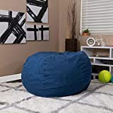 EMMA + OLIVER Oversized Denim Bean Bag Chair for Kids and Adults