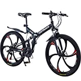 Max4out Mountain Bike Folding Bikes with High Carbon Steel Frame, Featuring 6 Spoke Wheels and 21 Speed Shimano Shifter, Double Disc Brake and Dual Suspension Anti-Slip Bicycles (Black 26 in)