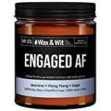 WAX & WIT Engagement Gifts for Couples - Scented Soy Candle Infused with Jasmine, Ylang Ylang, Sage - Bride Gifts, Gifts for Her, Bridal Shower Gifts - (1) 9oz Glass Candle (Engaged AF)