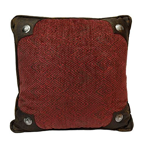 """HiEnd Accents Wilderness Ridge Lodge Chenille Throw Pillow w/Scalloped Concho, 1'6"""" x 1'6"""", Red"""