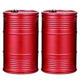 NAGU Windproof/Portable Car Ashtray with Lid, Made from Aluminum Alloy, Oil Drum Design, Portable and Resistant to High Temperature, Suitable for Use in The Car, Indoor or Outdoor. Red x2