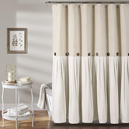 Lush Decor Button Shower Curtain, 72' X 72', Linen