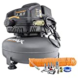 NuMax S3GICK 3 Gallon 1/2 HP Portable Electric Oil-Free Pancake Air Compressor with 25' Air Hose and 11-Piece Inflation Kit