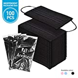 ANALAN 100 Pack Disposable Medical Surgical face mask for dust Allergies flu with Nose Strip (Black)
