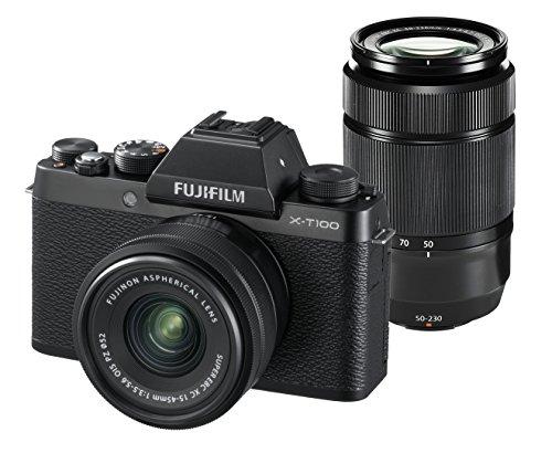 FUJIFILM ミラーレス一眼カメラ X-T100ダブルズームレンズキット ブラック X-T100WZLK-B