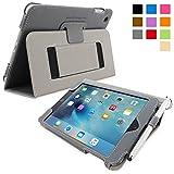 Snugg iPad Mini 5 & 4 Case - Grey Leather Smart Case Cover Apple iPad Mini 5 & 4 Protective Flip Stand Cover with Auto Wake/Sleep