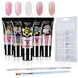 Anself Kit Uñas de Gel, Nail Gel Kit 5 Colores 15ml Uñas de Gel Conjunto de Extensión de Uñas con Bandejas de Uñas de 100 Piezas, un Cepillo...