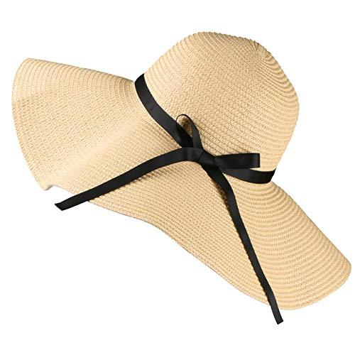Tencoz Stroh Sonnenhut für Frauen, Sonnenschutz Faltbarer großer Rand Strand Sommer Sonnenhut Durchmesser18.9 ″ - Hut aus Stroh für den Sommer am Strand oder im Urlaub
