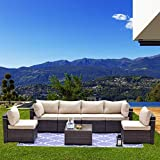 Kullavik Patio Furniture Set 7 Pieces Outdoor Sectional PE Rattan Sofa Set Brown Manual Wicker Patio Conversation Set with 6 Sand Seat Cushions and 1 Tempered Glass Tea Table