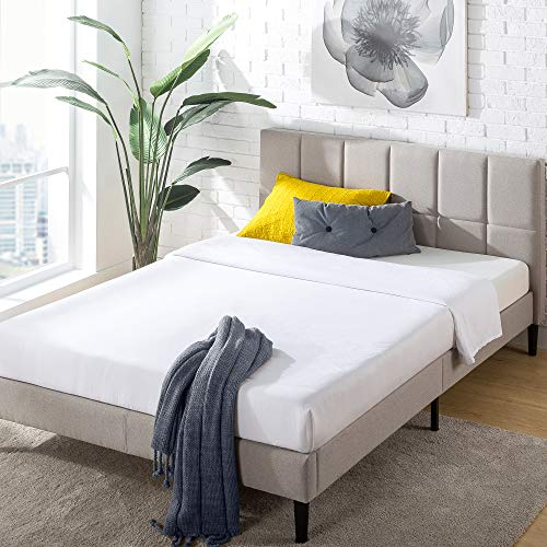ZINUS Lottie Upholstered Platform Bed Frame with Short Headboard / Mattress Foundation / Wood Slat Support / No Box Spring Needed / Easy Assembly, Beige, Queen