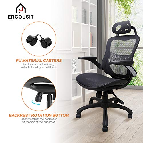 Product Image 5: Komene Home Office Chair - Ergonomic Desk Chair high Back Mesh Computer Chair with Lumbar Support & with Headrest, Thick Seat Cushion Recline Chair Swivel Task Chair