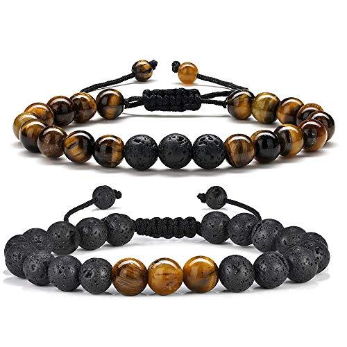 Bead Bracelet for Mens Gifts - Natural Tiger Eye Black Lava...
