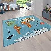 Paco Home Kinder-Teppich, Spiel-Teppich Für Kinderzimmer, Weltkarte Mit Tieren, In Grün, Grösse:120x160 cm