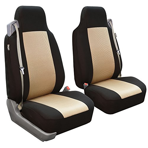 FH Group FB302BEIGE102 Beige Classic Cloth Built-in Seatbelt Compatible High Back Seat Cover, Set of 2