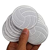 2.5x2.6' 12pcs White Volleyball Volley Ball Sport Iron On Sew On Embroidered Patches Appliques for Sport Cap Hat Machine Embroidery Sewing Craft