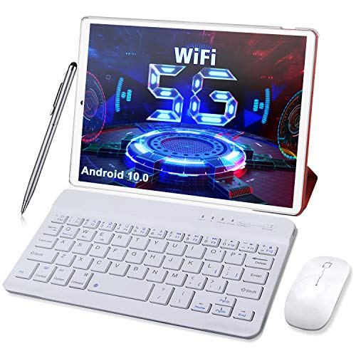 Tablet 10 Pollici 5G Dual WiFi - Android 10.0, 1,6 GHz 4GB RAM + 64GB ROM/128 GB Espandibile Tablets PC- WiFi | Bluetooth | Type-C | 6000 MAh con Mouse | Tastiera e Altro (Supporta Solo WiFi) (rosso)