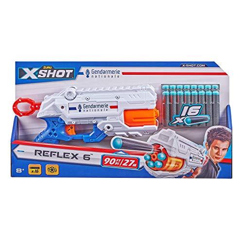 XSHOT- Pistola gendarmerie  Barile Girevole 6 Colpi, 16 fiches, Colore Cilindro frecce, 36433-B