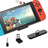 Gulikit Bluetooth Adapter for Nintendo Switch/Switch Lite PC, Mini Mic Supports in-Game Voice Chat, Wireless Audio Transmitter with aptX Low Latency to Bluetooth Speaker/Earbuds/Headphones (Black)