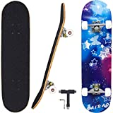 Geelife Skateboard 7 Layers Decks 31'x8' Pro Complete Skate Board Maple Wood Longboards for Teens...