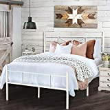 HAAGEEP White Bed Frame Full Size with Headboard and Footboard Metal Double Bedframe with Storage No Box Spring Needed 14 Inch
