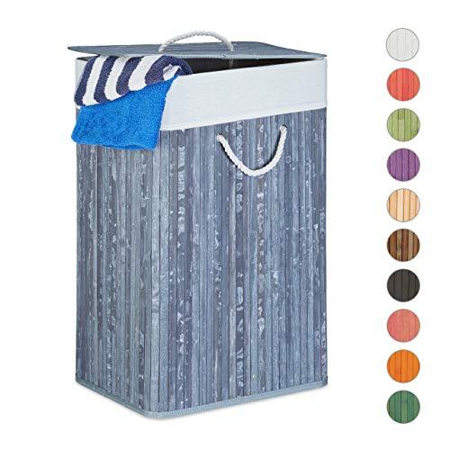Relaxdays Wäschekorb Bambus, mit Deckel, rechteckig, XL, 83 L, faltbarer Wäschesammler, HBT: 65,5 x 43,5 x 33,5 cm, grau