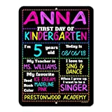 Honey Dew Gifts First Day of School Rainbow Stars Chalkboard Style Photo Prop Tin Sign - 9 x 12 inch Reusable Easy Clean Back to School - USE Liquid Chalk Markers to Customize (Not Included)