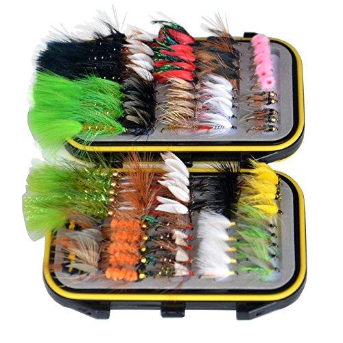 OutdoorPlanet, esche per pesca a mosca secca, mosca sommersa, ninfa e streamer + scatola impermeabile per esche per pesca a mosca di trote, confezione da 100