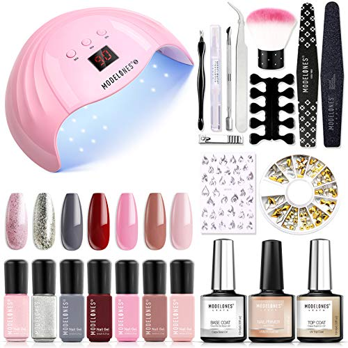 Modelones Gel Nail Polish Kit, 48W Led Nail Dryer Lamp, 7 Colors Soak Off Gel Nail Polish, Nail Primer, Base and Top Coat, Nail Art Decrations, Gel Manicure Tools Set with Gift Box