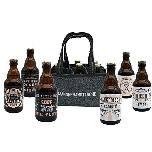 Jack's Männerhandtasche Angler/gefüllt mit 6 Bierflaschen/witzige Sprüche zum Thema...