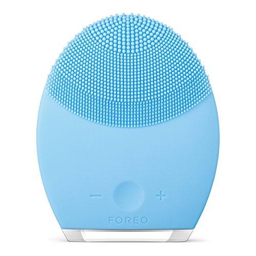 FOREO LUNA 2, Spazzola pulizia viso personalizzata e massaggiatore anti-età, Pelli Miste, Azzurro