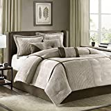 Madison Park Cozy Comforter Set Casual Blocks Design All Season, Matching Bed Skirt, Decorative Pillows, Queen(90'x90'), Dallas Corduroy, Taupe Brown, 7 Piece
