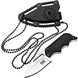 SOG Small Fixed Blade Knives – Instinct Mini 1.9 Inch Full Tang Belt Knife and Boot Knife w/Tactical Knife Sheath and Neck Knife Chain (NB1002-CP)