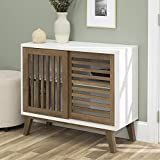 WE Furniture AZ36SSDSW TV Stand, 36', White/Rustic Oak