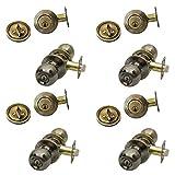 NU-Set 4 x(F-E-5-3+70053) KA Fremont 4 Sets keyed Alike Door konbs and Single Cylinder deadbolt in Antique Brass