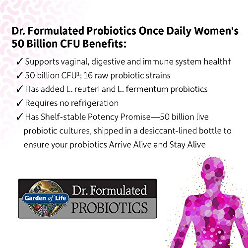 Garden of Life Dr. Formulated Probiotics for Women, Once Daily Women's Probiotics 50 Billion CFU Guaranteed and Prebiotic Fiber, Shelf Stable One a Day Probiotic No Gluten Dairy or Soy, 30 Capsules 12