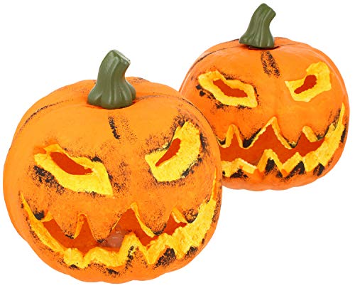 com-four® 2X Calabaza con iluminación LED para Halloween - Linterna para Halloween y...