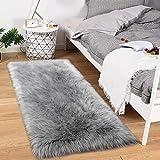 Noahas Luxury Fluffy Rugs Bedroom Furry Carpet Bedside Sheepskin Area Rugs Children Play Princess Room Decor Rug, 2ft x 4ft Grey