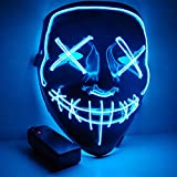 CANASOUR Halloween Mask Frightening Cosplay LED Light up Mask for Festival Cosplay Costume (Blue)