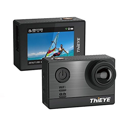 ThiEYE Action Cam 4K, T5e WiFi Action Camera 16MP 5,08 cm Display,Sony Sensor, 60m Impermeabile, 170°Wide Angle Fotocamera Subacquea,Controllo App per Immersioni