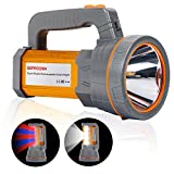 Super Bright Handheld Searchlight USB Rechargeable Large 4 Batteries 10000mah Powerful Cree LED Spotlight Flashlight High Lumens Powered Heavy Duty Waterproof Marine Boat Torch,Camp Lantern