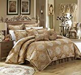 Chic Home 9 Piece Aubrey Decorator Upholstery Comforter Set and Pillows Ensemble, King, Gold