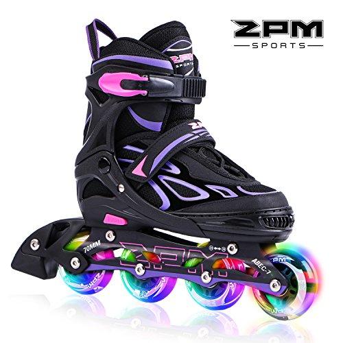 2PM SPORTS Vinal Verstellbar Inliner für Kinder, Leucht Inline Roller Skates Rollschuhe für Damen/Herren (Violet, Medium(33-36EU))