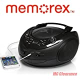 Memorex CD/AM/FM Stereo Sport Boombox MP3221 Portable with Universal Line-in Jack for MP3 Players